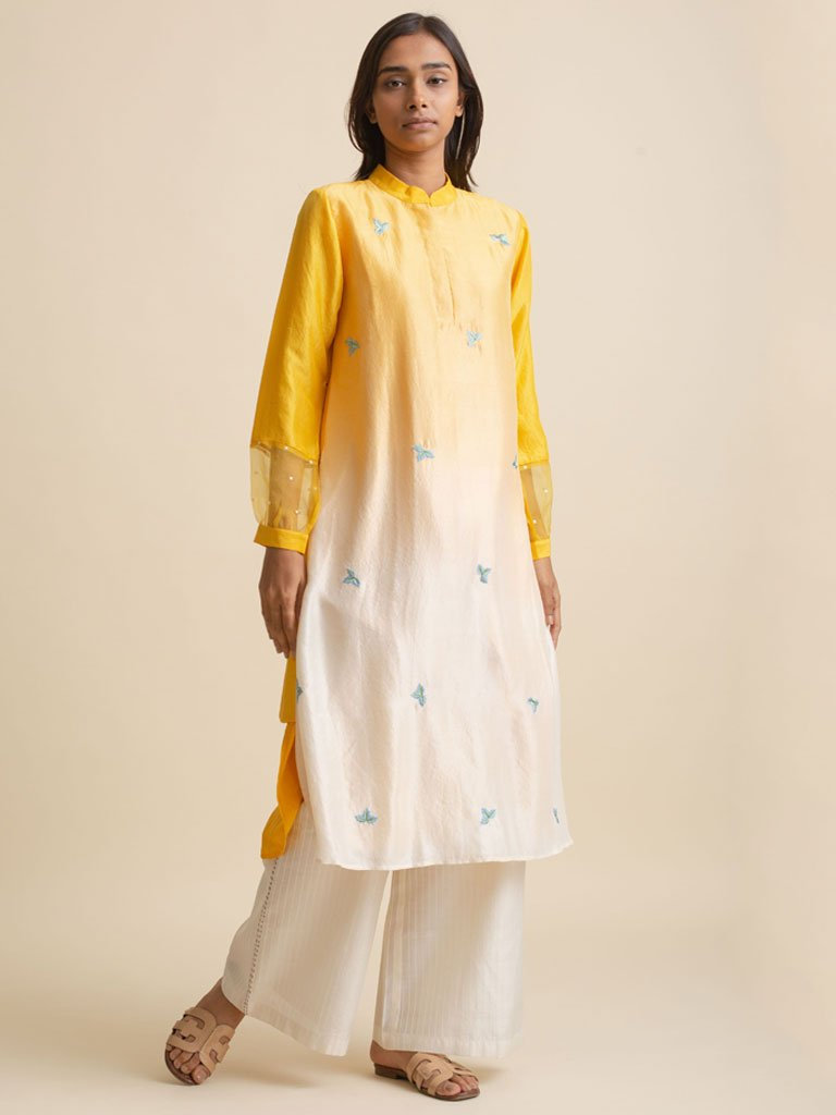 Yellow and white ombre shirt dress made from Dupion Silk with beautiful leaf embroidery across the bodice
