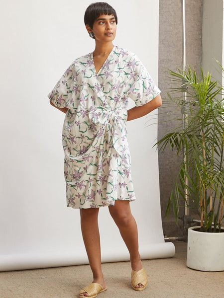 Orchid Wrap Dress-DRESSES-IKKIVI