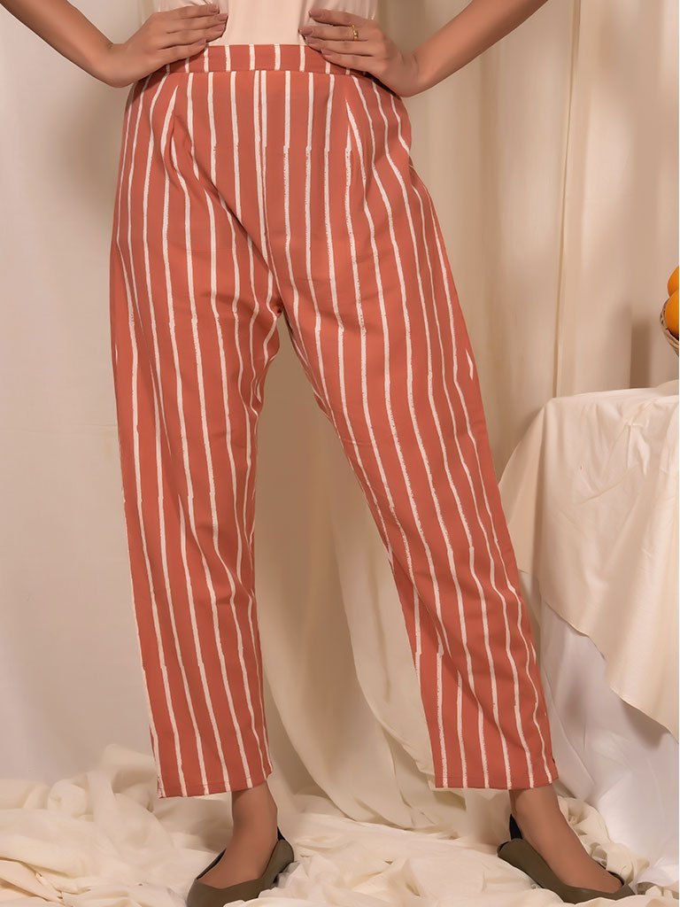 Peach Striped Pants-BOTTOMS-IKKIVI
