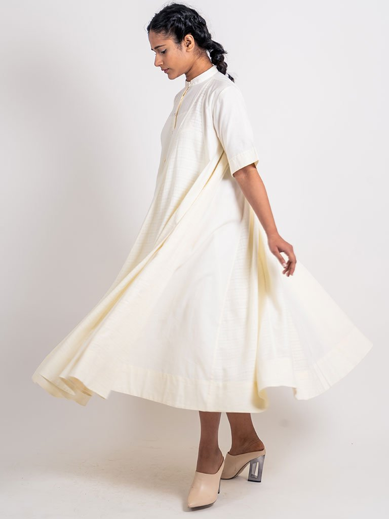 Plain Textured Godet Dress With Sleeve-DRESSES-IKKIVI