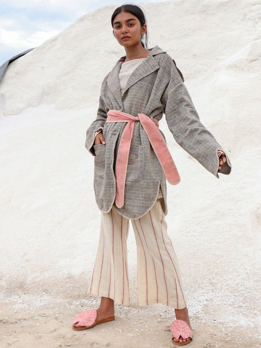Naturally dyed and handwoven kala cotton coat