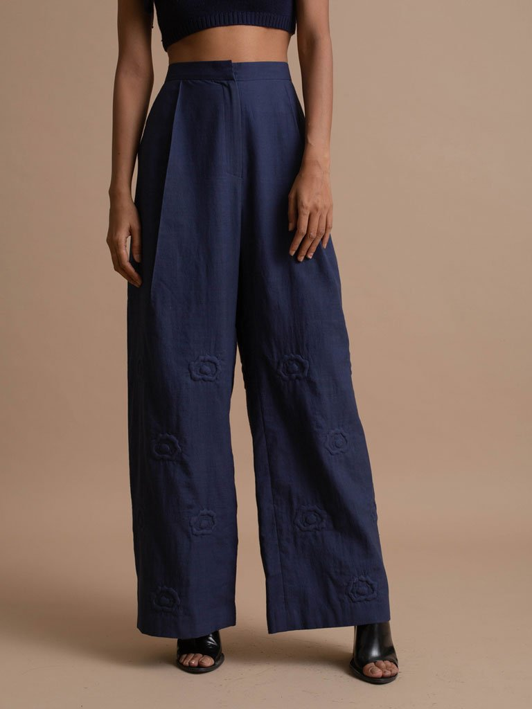 Handspun Khadi Trousers with Quilted details and Floral Embroidery