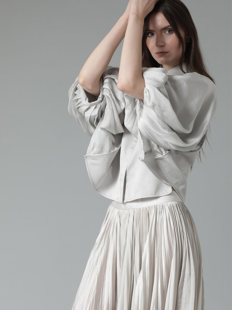 Softer than silk vegan cape style collared blouse