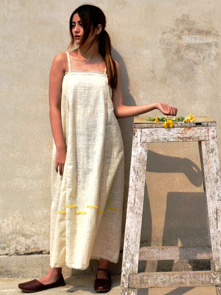 Handknotted detailed front dress crafted with  handwoven cotton