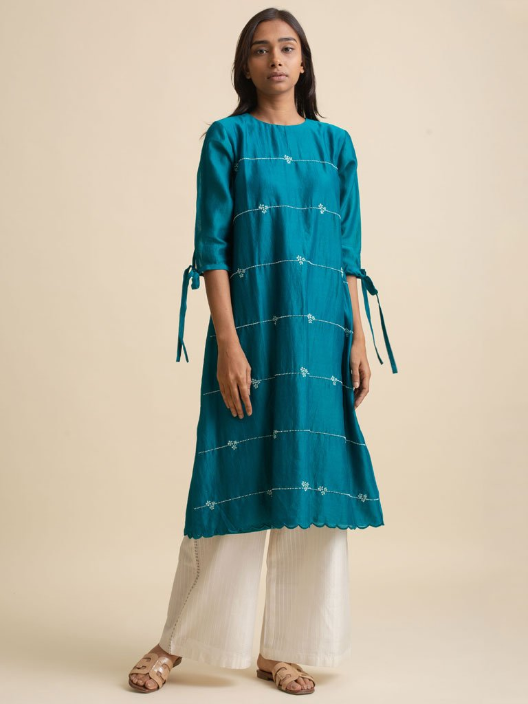 Hand Embroidery with detailed scallop chanderi dress