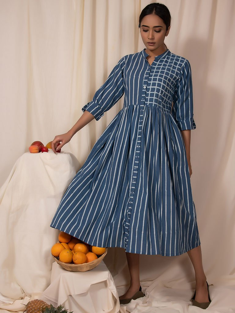 Seablue Gathered Dress-DRESSES-IKKIVI