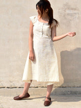 Load image into Gallery viewer, Handwoven midi length skater dress with front button details