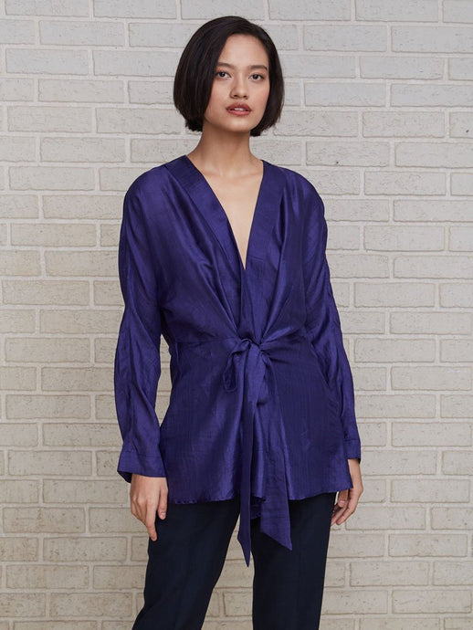 Luxurious pure handloom silk kimono-sleeved top