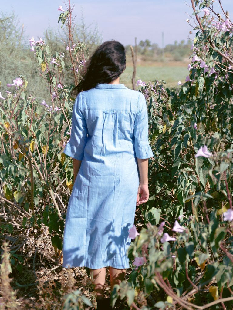 Sky Blue Khadi Shirt-dress-DRESSES-IKKIVI