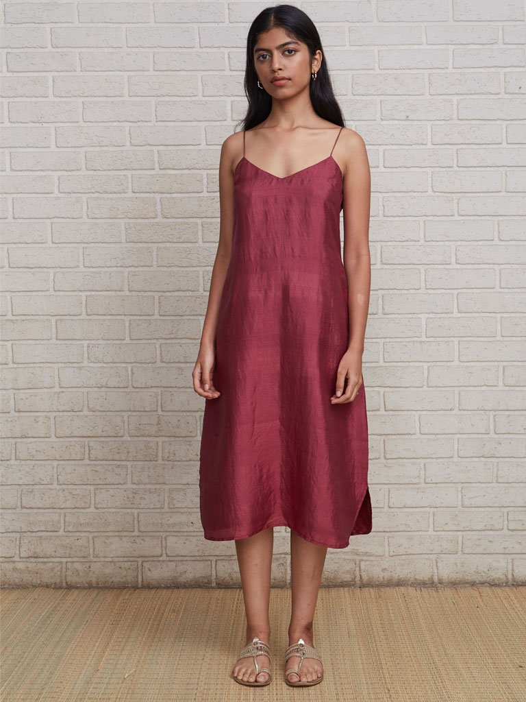 Luxurious double-layer of pure handloom silk V-neck dress