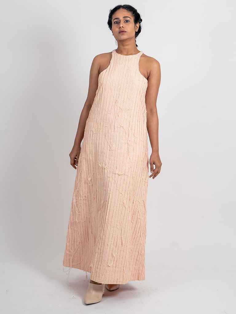 Stripped Textured Halter Dress-DRESSES-IKKIVI