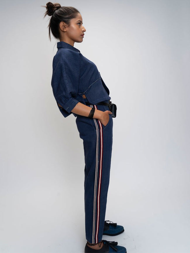 Blue Indigo dyed trousers  with side panels  pleated and laced
