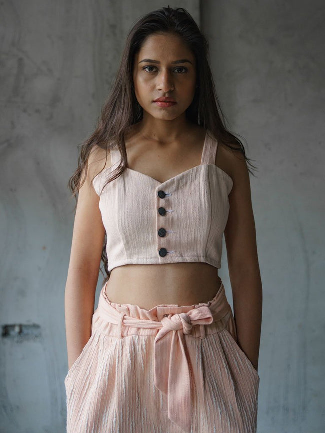 Khadi denim  conventional bra top dyed in subtle pink using floral dyeing