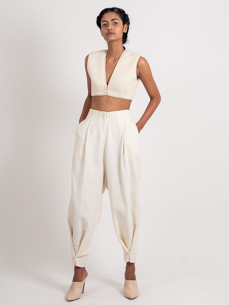 Textured Ankle Looped Pant-BOTTOMS-IKKIVI