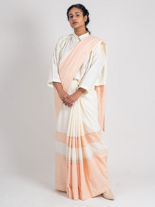 Textured Ivory & Peach Saree+Peticot-SAREES-IKKIVI