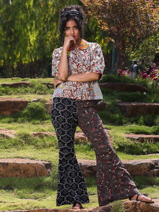 Fun flared  trousers and multiple floral print jacket top