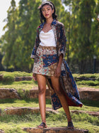 Mixed print kitschy mini skirt