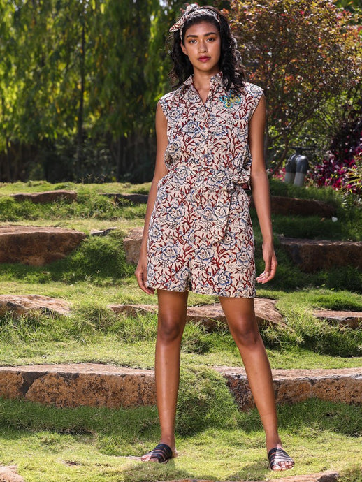 Floral print playsuit with detail waist
