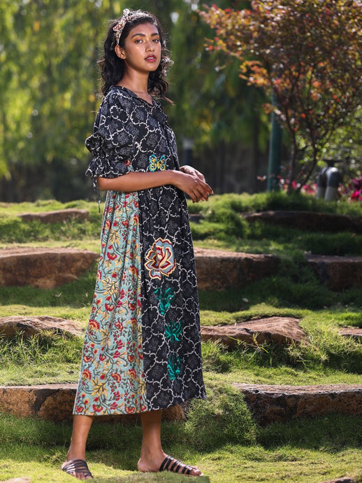 Bold floral embroidery chic dress