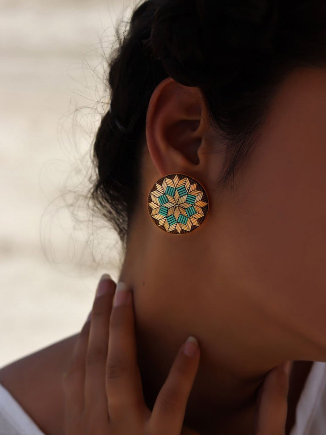 Turquoise Floral Earrings-JEWELLERY-IKKIVI