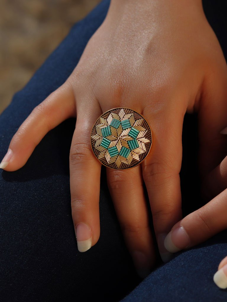 Turquoise Floral Ring-JEWELLERY-IKKIVI