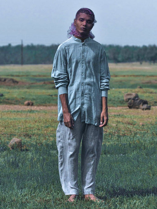 Washed Indigo Pleated Shirt-SHIRTS-IKKIVI