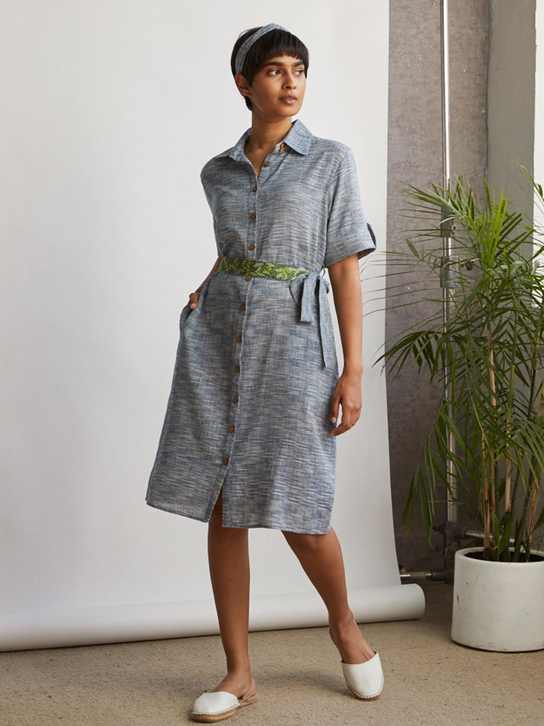 Weaved Shirt Dress-DRESSES-IKKIVI