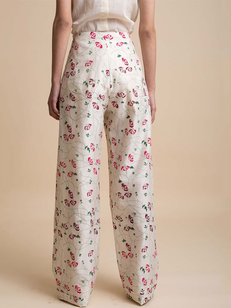 Wide Leg Printed Pants-SKIRTS & TROUSERS-IKKIVI