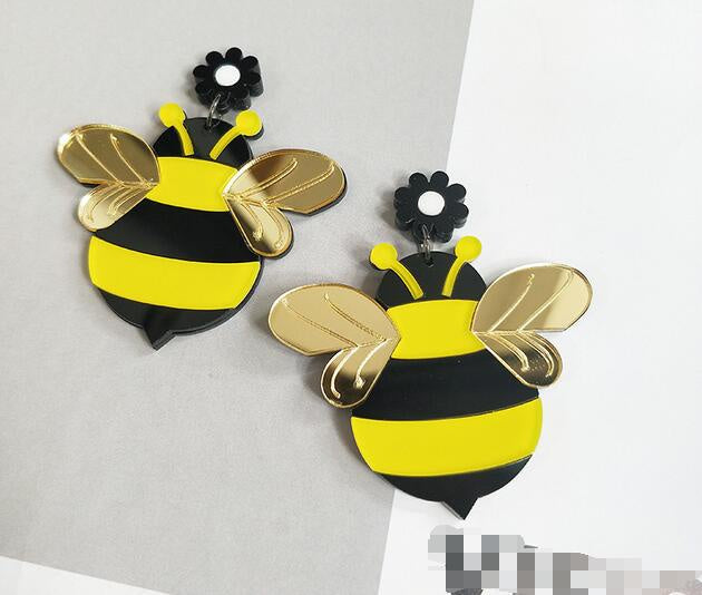 Large Bumble Bee Earrings
