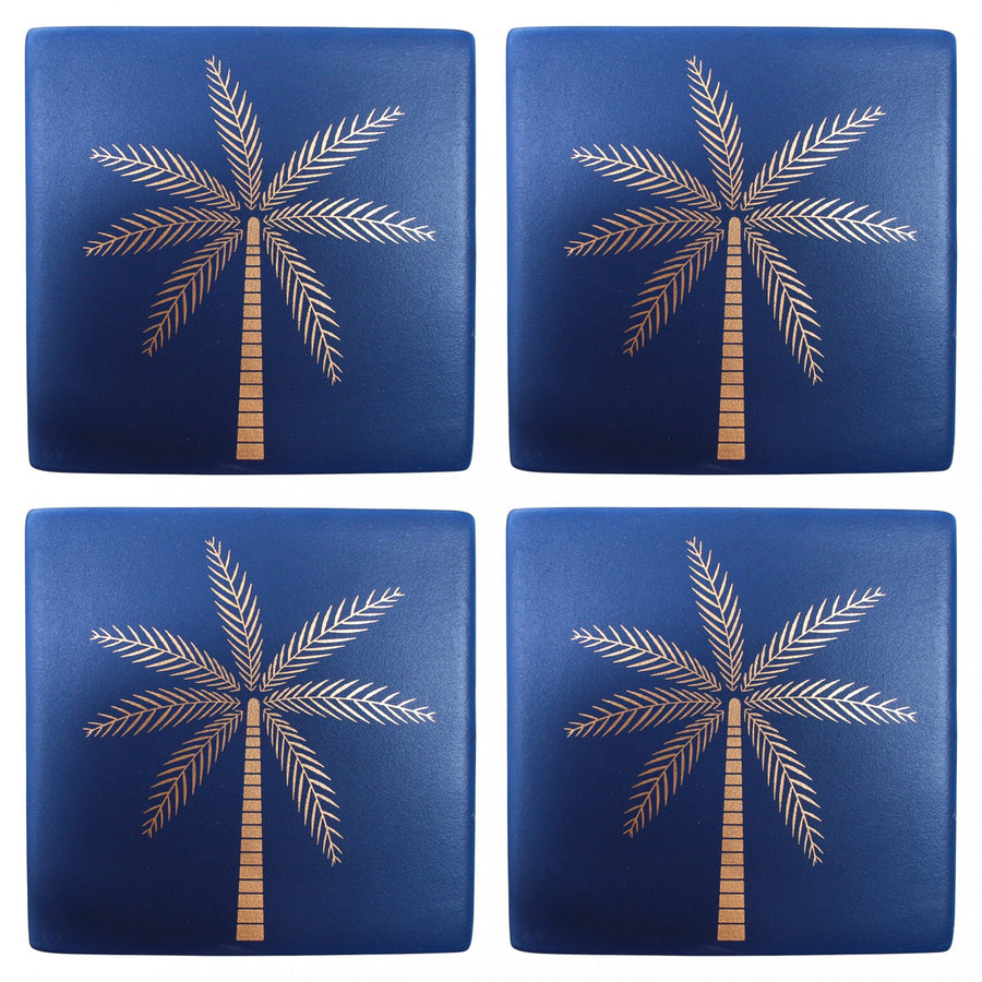 Ceramic Coasters - Navy Palm