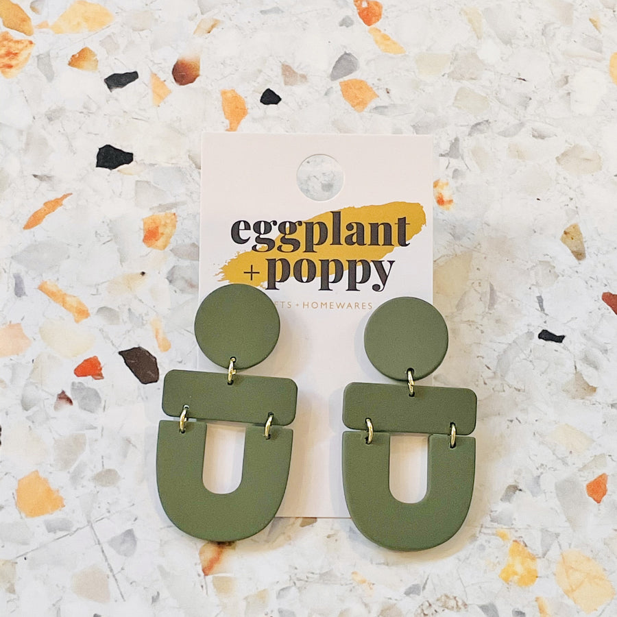 Art Earrings - Olive Shapes