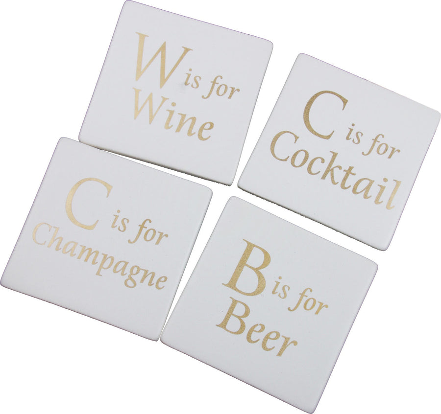 Ceramic Coasters - W is For Wine