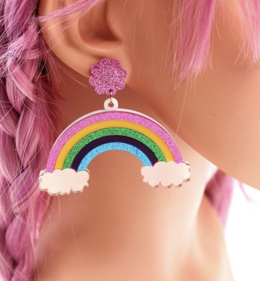 Pink Glitter Rainbow Earrings