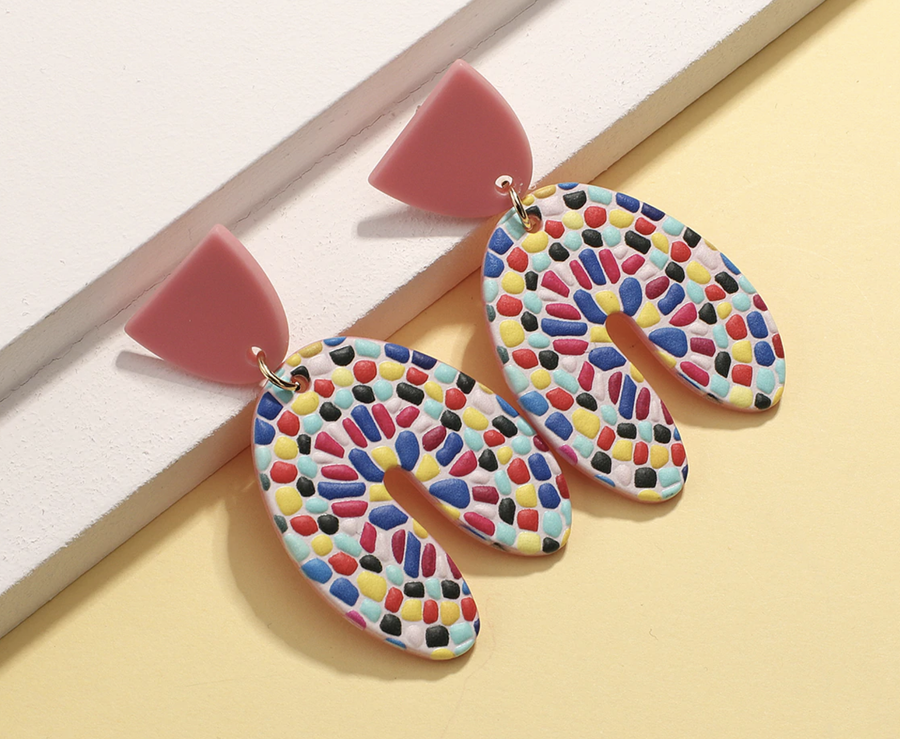 Art Earrings - Confetti Arch