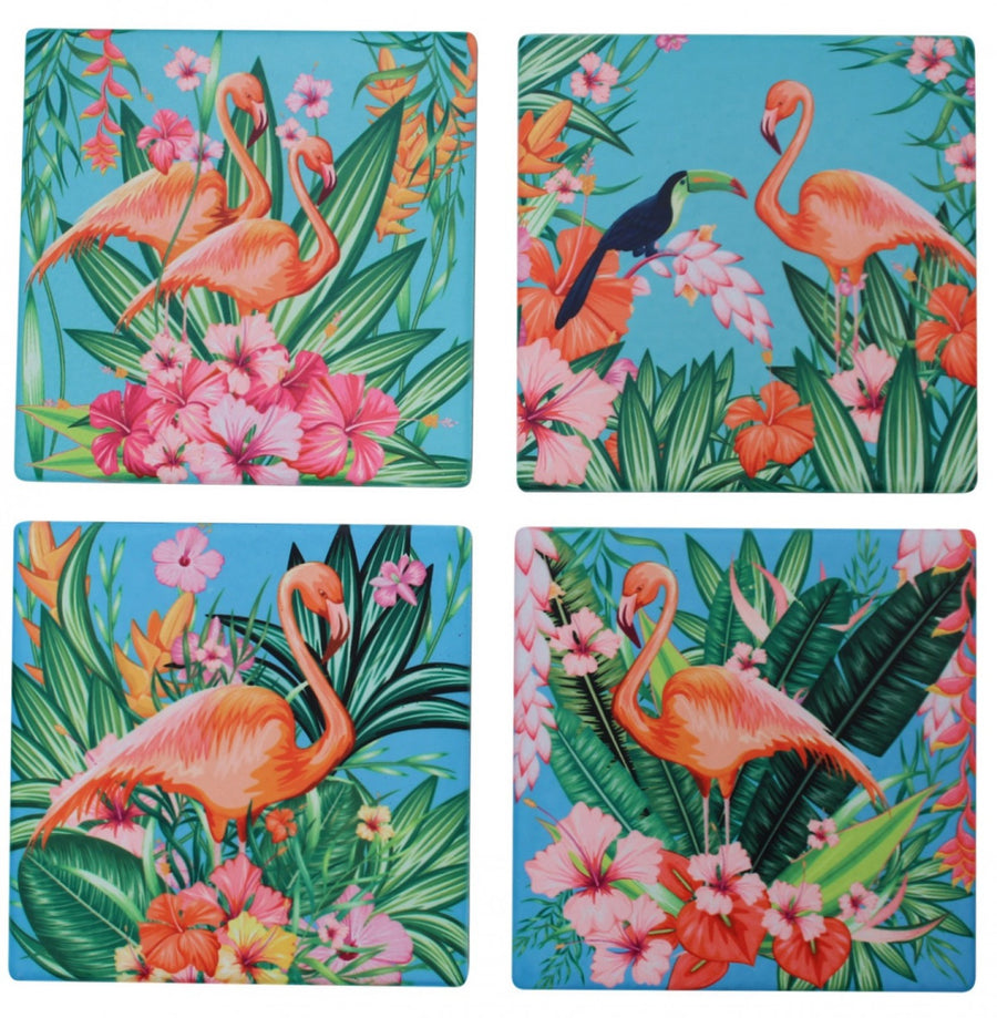 Ceramic Coasters - Bright Flamingos