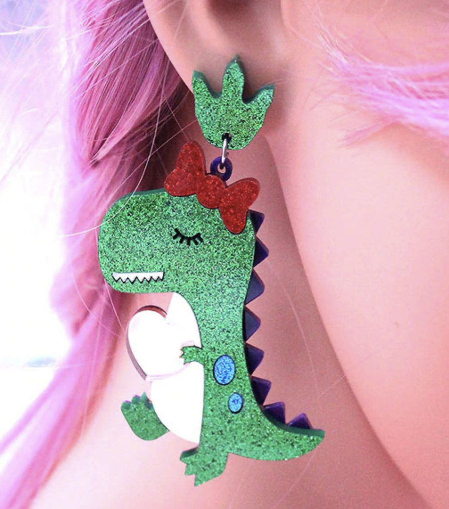 Glitter Dinosaur Earrings