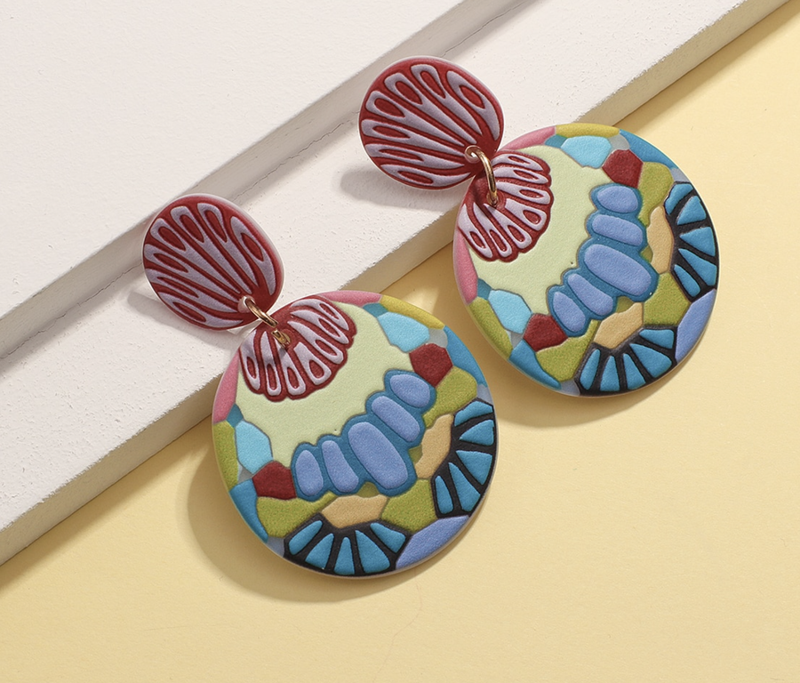 Art Earrings - Coral