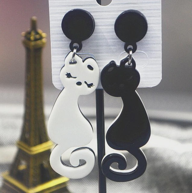 Black & White Cat Dangle Earrings
