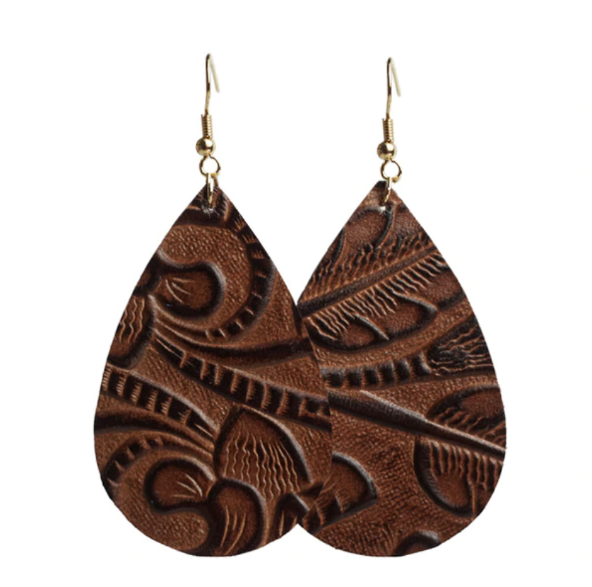 Leather Embossed Earrings