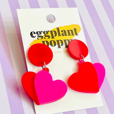 Pink & Red Heart Earrings
