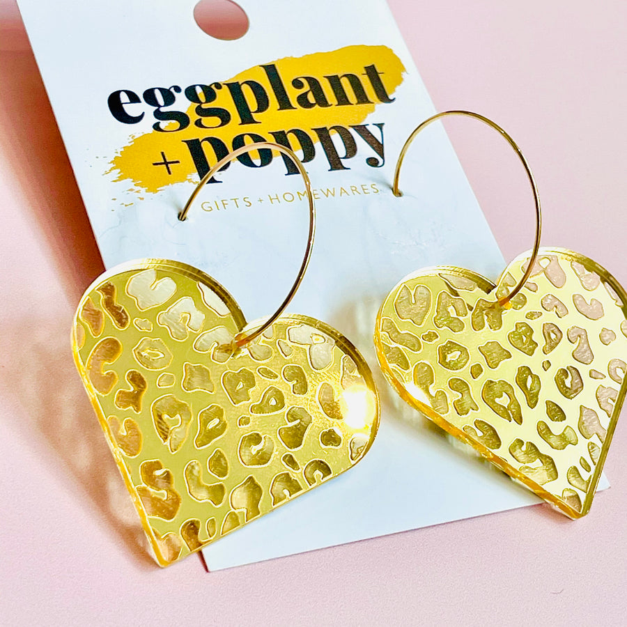 Gold Leopard Heart Earrings