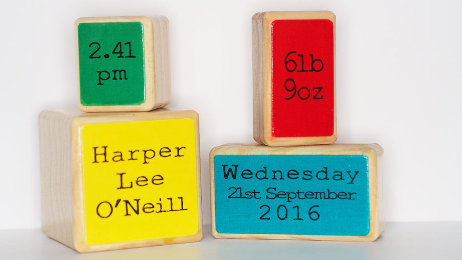 Children's Name Blocks, Set of 4 – Primary Colours