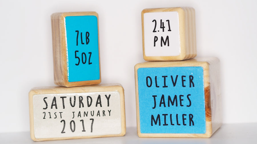 Children's Name Blocks, Set of 4  – Blue Hues