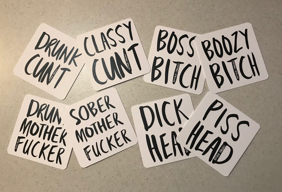 Flip Side Rude Coasters - 12 Pack