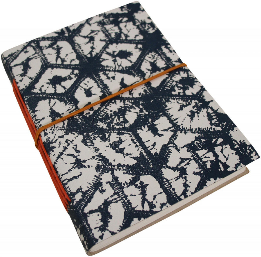 Leather Notebook - Navy Tie Dye