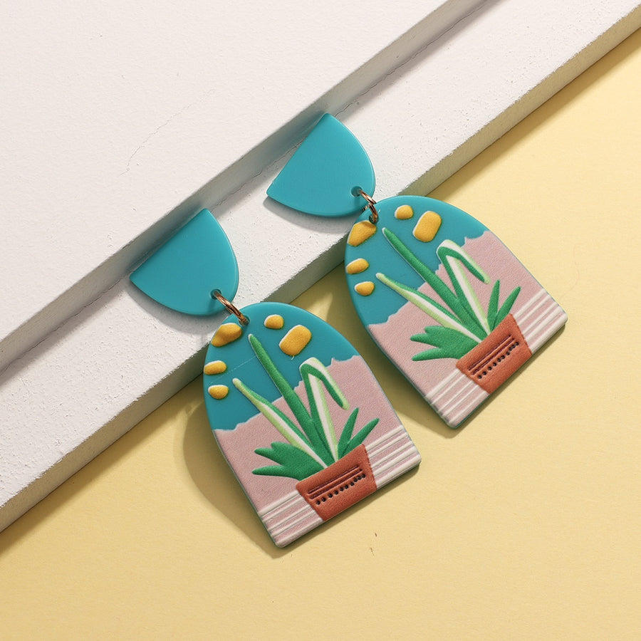 Art Earrings - Pot Plant