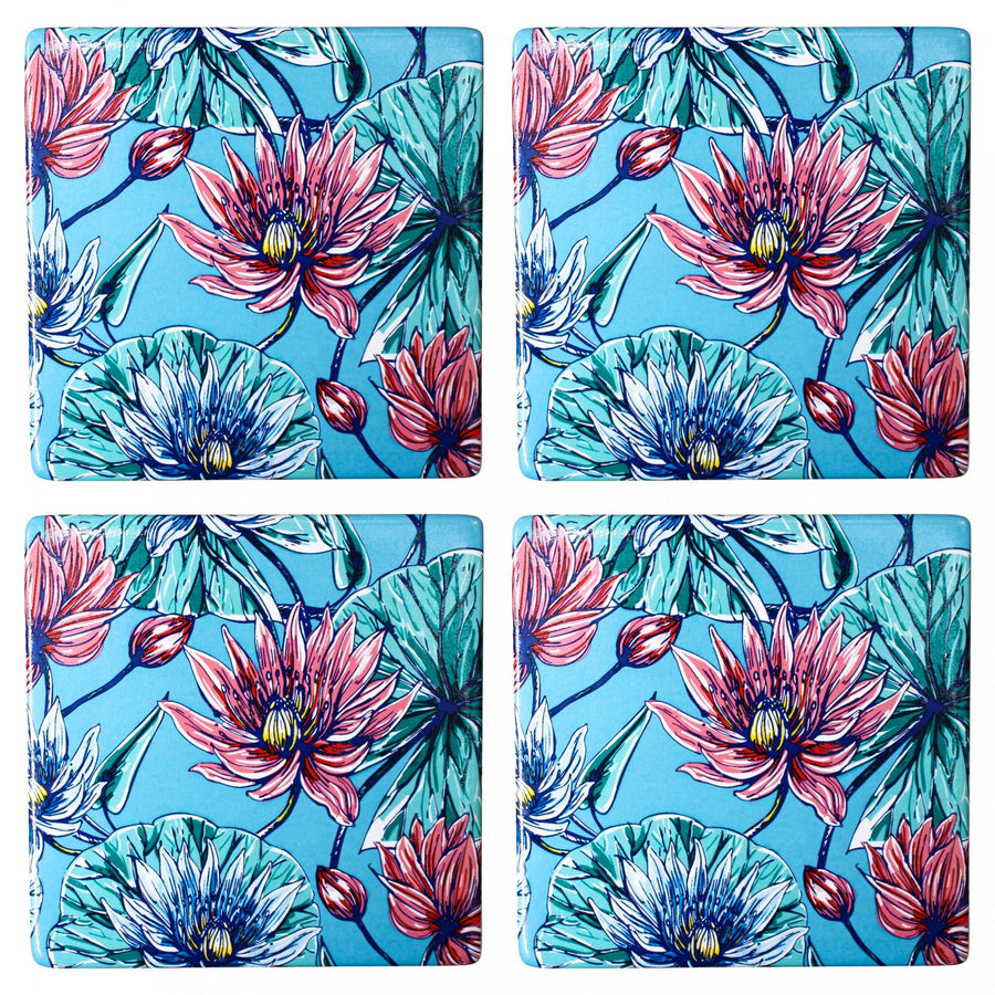 Ceramic Coasters - Blue Lily