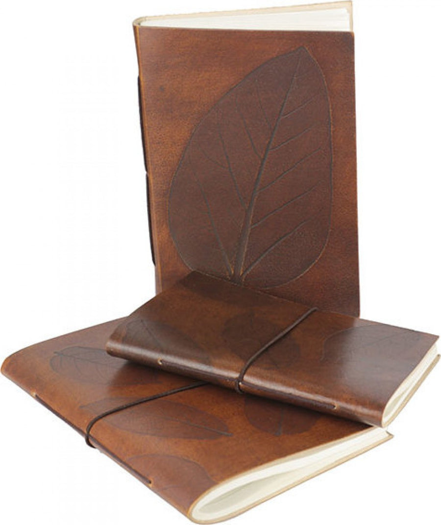 Large Leather Note Book - Leaf