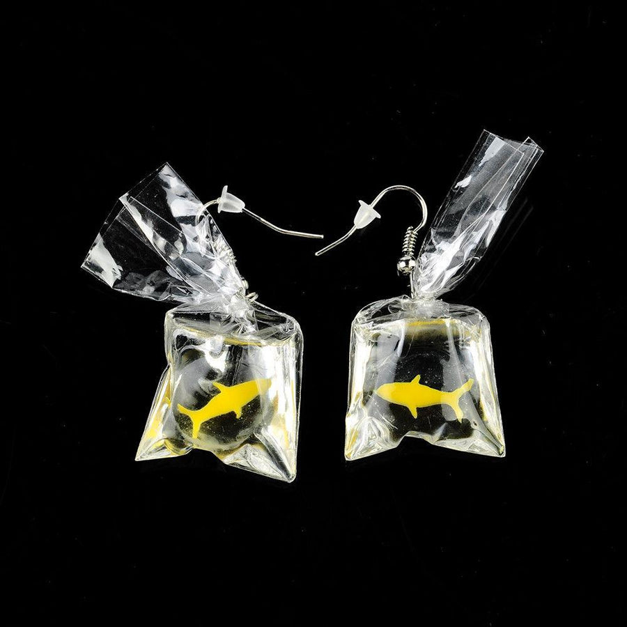 Goldfish In A Bag Dangle Earrings
