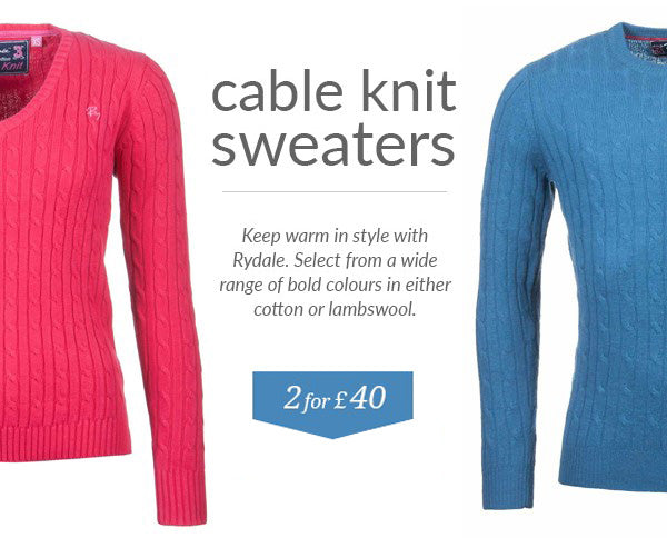 Rydale Cable Knit Sweaters - 2 for £40